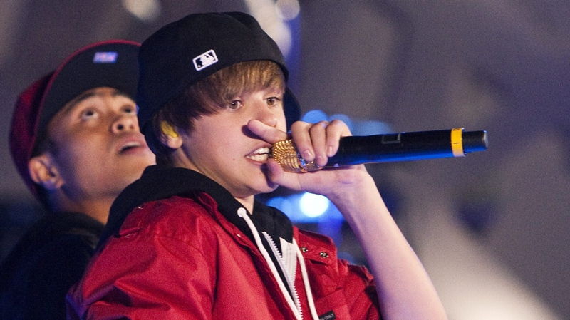 Justin Bieber performs during the MuchMusic Video Awards in Toronto, Sunday June 20, 2010. THE CANADIAN PRESS/Chris Young