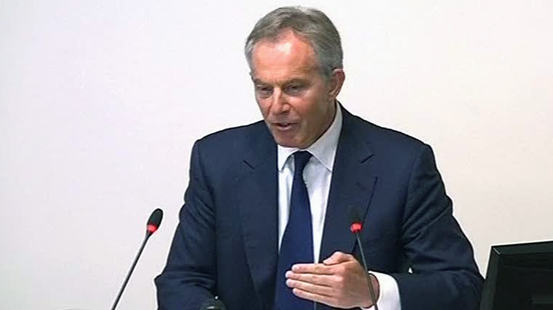 Former Prime Minister Tony Blair is grilled on his relationship with the press and Rupert Murdoch at an inquiry into media ethics in central London, Monday, May 28 2012. (AP Photo)