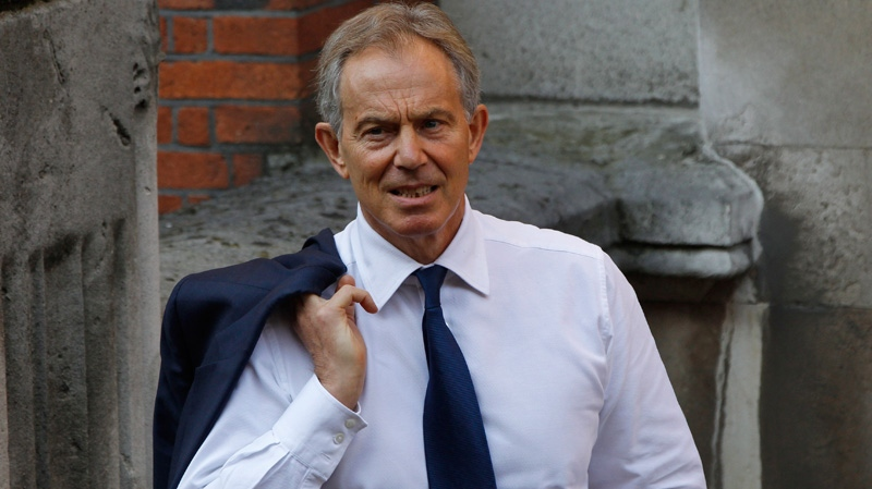 Former British Prime Minister Tony Blair arrives to give evidence at the Leveson inquiry at the Royal Courts of Justice in central London, Monday, May 28, 2012. (AP / Lefteris Pitarakis)