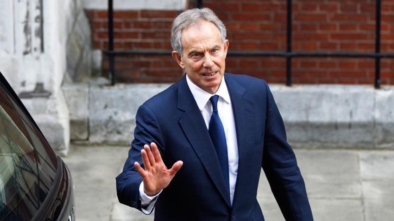 Former British Prime Minister Tony Blair is shown leaving a courthouse in London in this file photo from May 28, 2012. (AP / Lefteris Pitarakis)