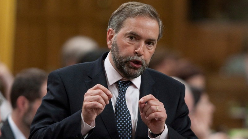 NDP Leader Tom Mulcair rises during Question Period in the House of Commons on Parliament Hill in Ottawa, Monday, May 28, 2012. 9Adrian Wyld / THE CANADIAN PRESS)
