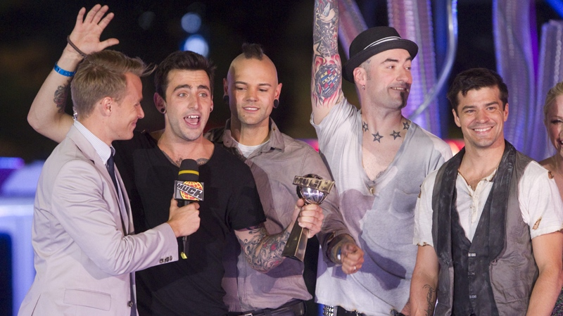Hedley accept their award for Best Video at the MuchMusic Video Awards in Toronto, Sunday June 20, 2010. THE CANADIAN PRESS/Darren Calabrese