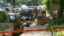 The body parts were found on this street in Cote des Neiges Tuesday.