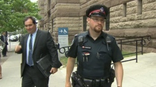 Toronto Police Cons. Andrew Vanderburgh took flack from fellow officers after he arrested an off-duty officer for impaired driving. The man he arrested, Brenton Berthiaume, appeared in court on Tuesday, May 29, 2012.