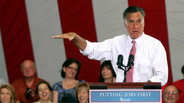 Mitt Romney speaks during a campaign event at the Somers Furniture warehouse in Las Vegas, Tuesday, May 29, 2012. (AP / Mary Altaffer)