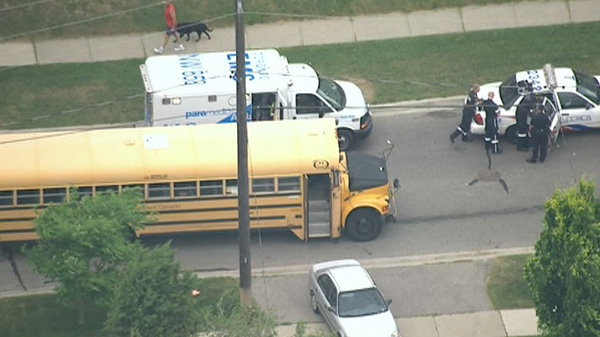 A bus driver and another driver got into an altercation near Islington Avenue and Dixon Road on Tuesday, May 29, 2012. Police say one of the men produced a hatchet and the other sustained minor injuries.