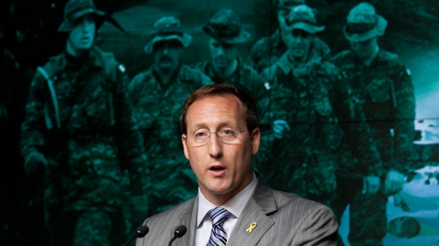 Minister of National Defence Peter MacKay announces the government will not appeal a ruling on veterans benefits during a news conference in Ottawa, Tuesday, May 29, 2012. (Adrian Wyld / THE CANADIAN PRESS)
