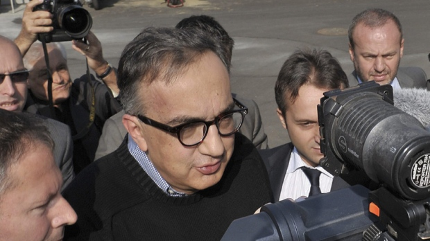 Fiat and Fiat Industrial CEO Sergio Marchionne meets reporters in Mirafiori, near Turin, Italy, Monday, Oct. 3, 2011.