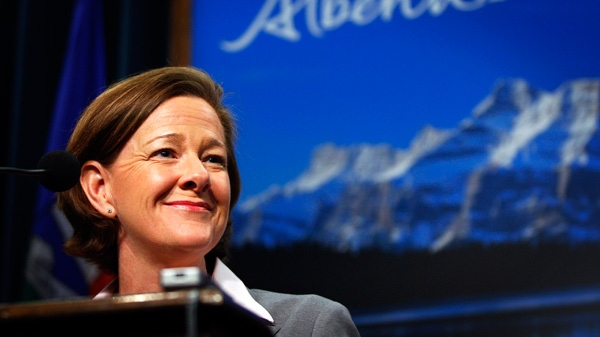 Alberta Premier and PC party leader Alison Redford speaks to the media following her majority win in the provincial election in Calgary, Alta