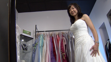 Say yes to the rental wedding dress ctv vancouver news japanese pediatrician junko yamanaka tries on a rental bridal gown in richmond bc ctv junglespirit Choice Image