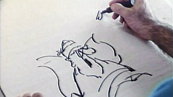 Jim Unger, the cartoonist behind Herman, is seen drawing in this undated image taken from video.