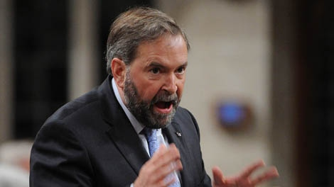NDP leader Tom Mulcair asks a question during Question Period in the House of Commons on Parliament Hill in Ottawa on Tuesday, May 29, 2012. THE CANADIAN PRESS/Sean Kilpatrick