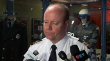 Cmdr. Ian Lafreniere speaks to the media at police headquarters in Montreal, Wednesday, May 30, 2012.
