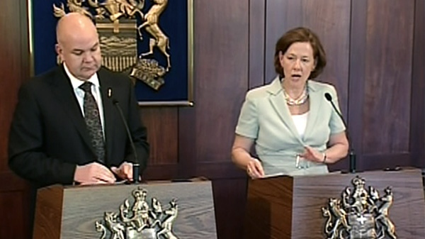 Alberta Premier Alison Redford and Fred Horne, health minister, speak about the tobacco lawsuits, Wednesday, May 30, 2012.