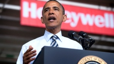 U.S. President Barack Obama speaks about jobs for veterans at Honeywell Automation and Control Solutions Global Headquarters in Golden Valley, Minn., Friday, June 1, 2012. (AP / The Star Tribune, Glen Stubbe)