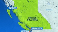 Three people were killed in a helicopter crash near Terrace, B.C. on Friday, June 1, 2012.