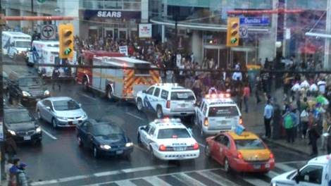 Toronto Blue Jay Brett Lawrie tweeted this photo of the scene at the Eaton Centre following a reported shooting on Saturday, June 2, 2012. (Brett Lawrie / Twitter)