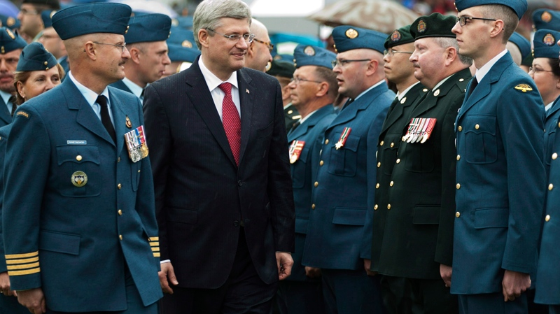 Prime Minister Stephen Harper, honour guard, Canadian Forces day, North Bay, Ontario
