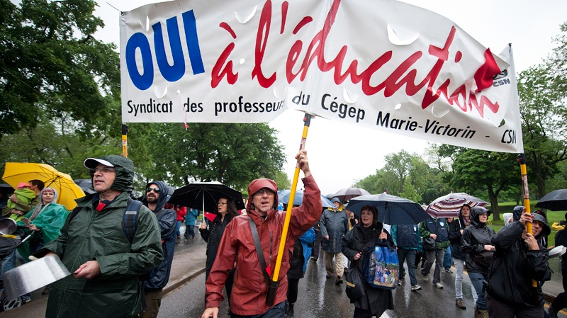 Protesters rally in Montreal over the Charest government's controversial Bill 78.