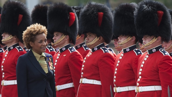 Governor General Michaelle Jean conducts the annual Inspection of the Ceremonial Guard on Parliament Hill in Ottawa, Tuesday June 22, 2010. (Adrian Wyld / THE CANADIAN PRESS)