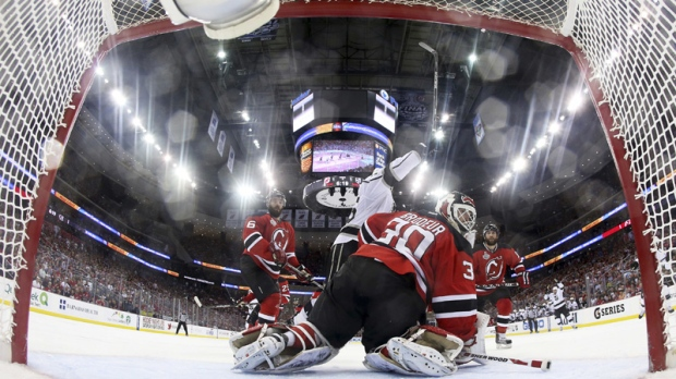 3597917cc Carter scores in OT as Kings win Game 2 of Cup final. New Jersey Devils  goalie Martin Brodeur ...