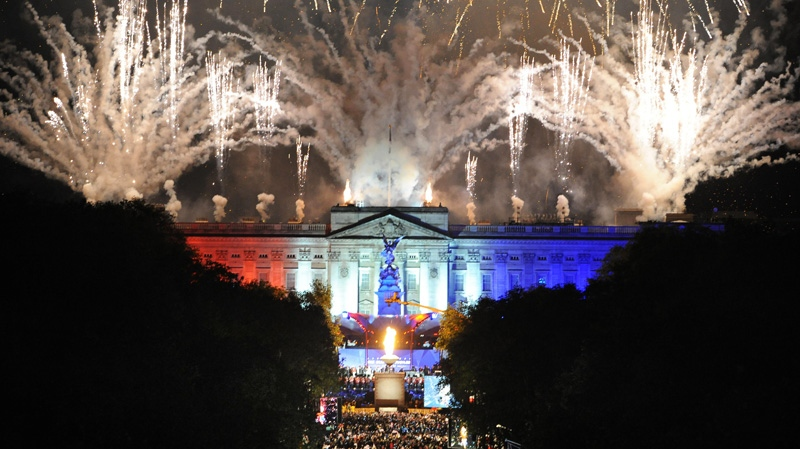A fireworks display outside Buckingham Palace marks the end of the Jubilee concert, a part of the Diamond Jubilee celebrations in London on Monday, June 4, 2012.