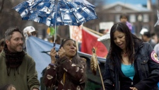 Demostrators gather as they prepare to march during a protest in Toronto on Wednesday April 7, 2010 to highlight demands for the restitution for mercury poisoning which is claimed to be affecting the health of the community in Grassy Narrows, Ontario. (THE CANADIAN PRESS/Chris Young)