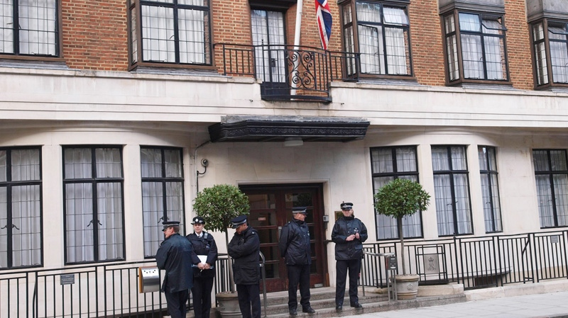 Police outside the King Edward VII hospital in London, where Britain's Prince Philip has been brought with a bladder infection Monday June 4, 2012. (AP / Max Nash)
