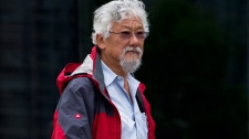 David Suzuki is seen arriving for a news conference where he and other environmental groups spoke out against the federal budget bill C-38 in Vancouver