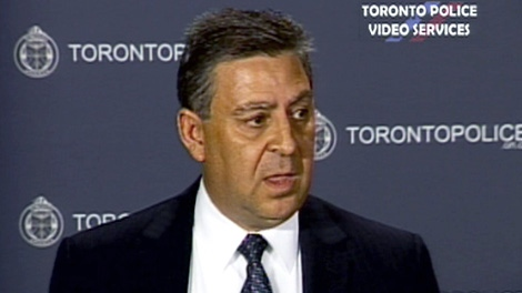 Detective Sgt. Brian Borg speaks about the arrest in the Eaton Centre shooting in Toronto, Monday, June 4, 2012.