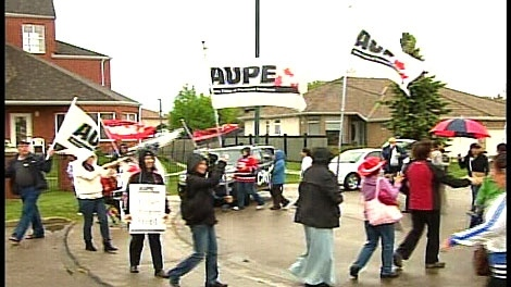 Picket lines popped up outside the Revera Retirement Living facility in Riverbend on Tuesday morning.