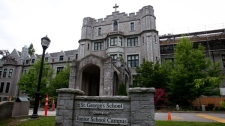 St. George's School, where a human foot was delivered to the school earlier in the day, is pictured in Vancouver, B.C., on Tuesday June 5, 2012. (Darryl Dyck / THE CANADIAN PRESS)
