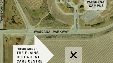 The site of a new health facility is seen in this aerial map from the Saskatchewan government website.