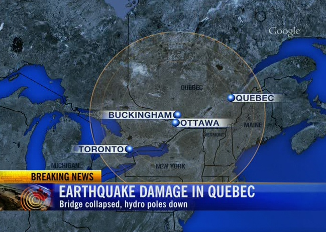 CTV map shows the epicentre of the quake in central Canada, Wednesday, June 23, 2010.