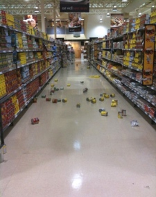 Cans and other items can be seen strewn on the floor of a grocery store following the earthquake near Ottawa, Monday, June 23, 2010. (Kelly Moxam / MyNews.CTV.ca)