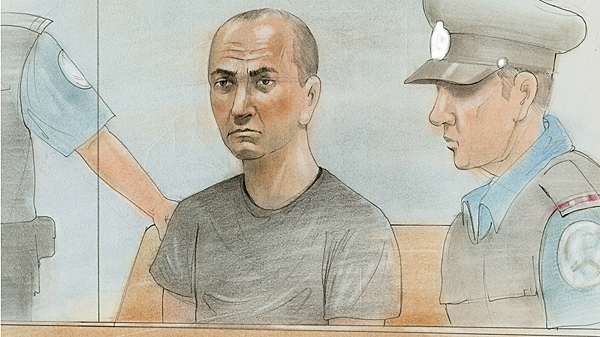 A sketch of Byron Sonne made during his court appearance on Wednesday, June 23, 2010.