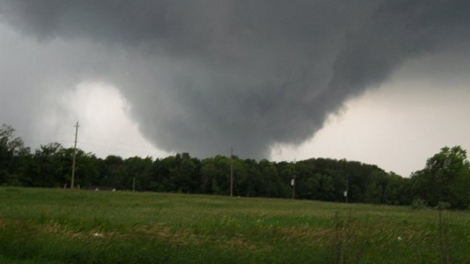 A possible tornado is seen near Lake St John, north of Orilla, Ont. in this image submitted to 'A' News by Robyn Andrews.