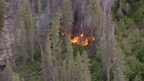 The cause of the wildfire blazing southwest of Vanderhoof, B.C., remains under investigation, June 23, 2010. (CTV)