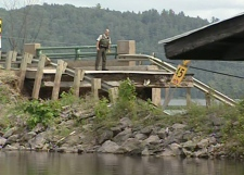 A bridge was damaged in the earthquake near Gracefield, Que., about 60 km north of Ottawa, Wednesday, June 23, 2010. Gracefield, a town with a population of approximately 3,000 people, has declared a state of emergency.