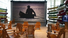 The artificial lake at the G20 media centre in Toronto, on Wednesday June 23, 2010. The lake is part of a display promoting Ontario's Muskoka region. (Paul Chiasson / THE CANADIAN PRESS)