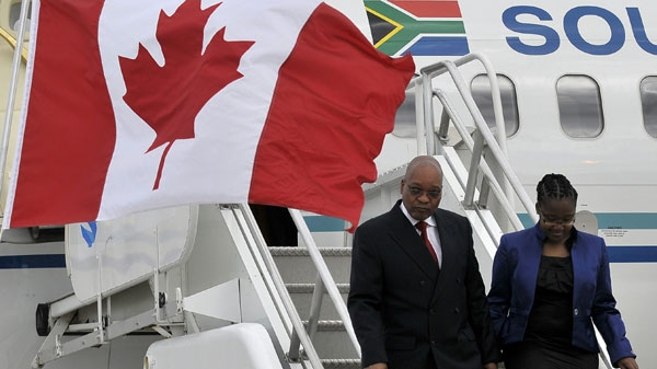 Jacob Gedleyihlekisa Zuma, President of the Republic of South Africa, arrives with his daughter Phumzile Zuma at the Toronto International Airport to attend the G-8 and G-20 Summits in Huntsville and Toronto, Ont. on Thursday June 24, 2010. G8/G20 Host Photo/J.P. Moczulski