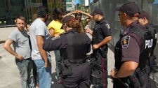 A regulation was passed allowing police to ask for identification of anyone passing through the security zone from June 14 - June 28. (Ian Munroe/CTV.ca)