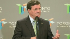 Finance Minister Jim Flaherty speaks at the Toronto Board of Trade on Thursday, June 24, 2010.