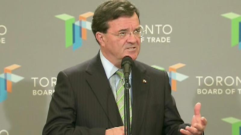 Finance Minister Jim Flaherty speaks at the Toronto Board of Trade on Thursday, June 24, 2010.
