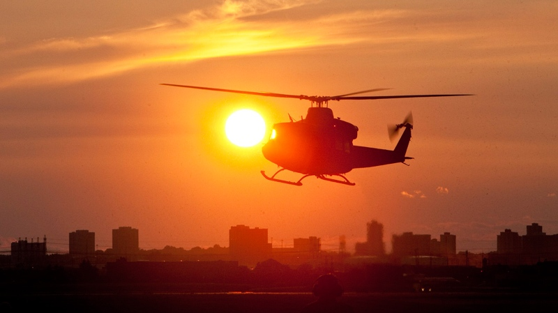 A helicopter lands at Pearson Airport to transport dignitaries to the G8 Summit site in Toronto, Thursday, June 24, 2010. (Paul Chiasson / THE CANADIAN PRESS)