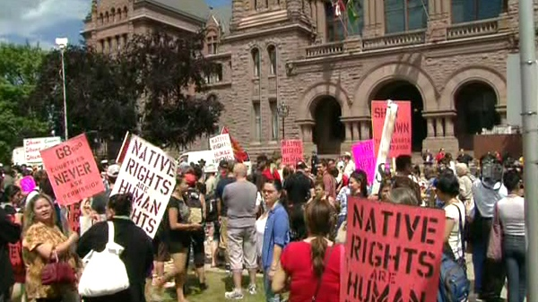 Aboriginal protesters gather at Queen's Park in Toronto, Thursday, June 24, 2010.
