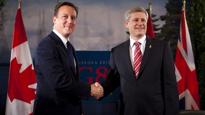 Prime Minister Stephen Harper holds a bilateral meeting with British Prime Minister David Cameron during the G8 Summit in Huntsville, Ont., on Friday June 25, 2010. (Sean Kilpatrick / THE CANADIAN PRESS)
