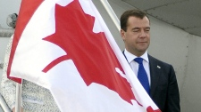President of the Russian Federation Dmitry Medvedev arrives at Toronto International Airport to attend the G8 and G20 Summits in Huntsville and Toronto, Ont. on Thursday, June 24, 2010. (J.P. Moczulski / THE CANADIAN PRESS)