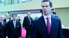 Ontario Premier Dalton McGuinty refused to comment on a controversial amendment to the Public Works Protection Act when asked by the media on Saturday, June 26, 2010.