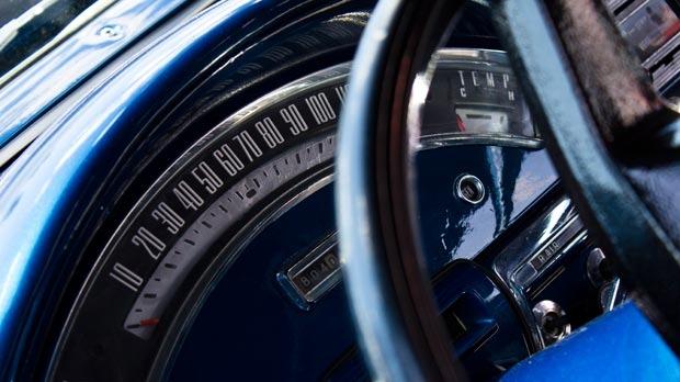 Classic car speedometer